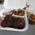 The sampler-tri tip, pulled pork, ribs and chicken