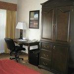 Room 202, Quality Inn, Sarnia, armoir, fridge, desk