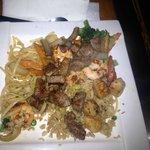 Shrimp, steak, chicken, noodles and veggies