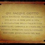 Plaque on Birthplace of Giotto to Vespignano - Vicchio