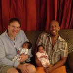 Ken and Mike with their twins at Tej Abode