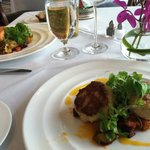 Crab cakes and salmon dinners - both very good!