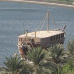 Sharjah Dhow restaurant seen from nearby Holiday International