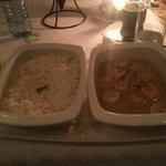 rice and garlic prawns