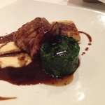 Lamb with spinach, pureed parsnip and potatoes dauphinoise