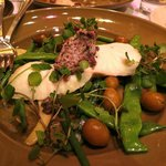 Northern halibut with watercress, black olive butter, peewee potatoes, yellow and green beans