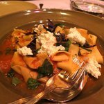 Hand-cut papadelle with light heirlom tomato sauce, basil, and fresh ricotta