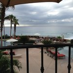 View from the room patio/balcony to the pools and ocean