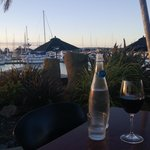Sitting at the Waterline Cafe restaurant overlooking the marina.  10 minute walk from OTP Motel
