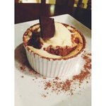 Amazing chocolate soufflé with rose