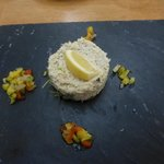 Crab terrine was good, not taken with the ''slate plates''