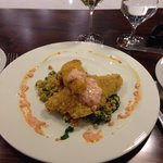 Hickory stick crusted perch with barley risotto