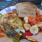 Delicious Breakfast, Omelettes, fruit and toast!