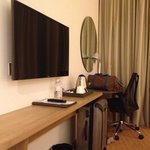 Desk and flat screen HD TV