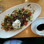 breakfast salad of chorizo, black pudding, potato
