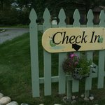 The check in sign.