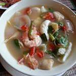 Spicy Thai soup with prawns.
