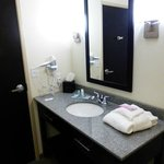 Bathroom showing hair dryer & night light