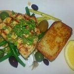char grilled swordfish steak with fennel cream, fondant potato, sautéed olives and lemon ($35)