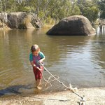 swimming in the weir at granite gorge