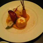 egg with squash puree and market vegetables