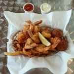 Shrimp basket, they even had honey to dip hushpuppies. I know, but try it
