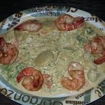 Shrimp Flambe with pasta over Meunière sauce