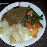 flat iron steak with scalloped potatoes..