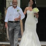 happy father and bride