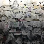 """""""Napkin wall"""" inside the bakery"""