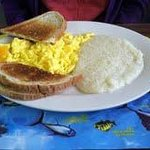 Eggs and Grits with Rye Toast
