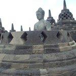 Buddha statue in the stupa, Borobudur Temple