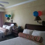 Balloons decorated bedroom