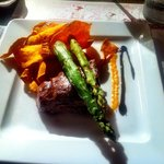Fillet steak with sweet potato crisps & asparagus