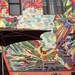 Mosaic Mural makes a beautiful backdrop for the patio