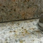 disintegrated vanity caulking leaving a good crack for molds and pests. remember constant moistu