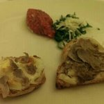 White truffle, bread and eggs and meat Tatar