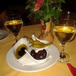 Appetisers and lovely crisp white wine