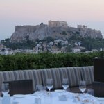 View over acropolis from roof top restaurant
