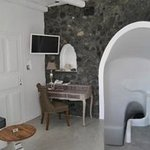 office and living area, cave style accommodation