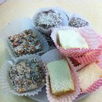 Coconut and Lemon Slice, Marshmallow and Coconut Fudge and Chocolate truffles, all homemade!