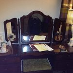 Dressing vanity with hot water pot and tea