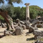 Temple of Hera is where the Olympic flame is lit and then taken by runners to light the torch.