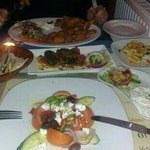 Greek salad, dolmades, tzatziki and halloumi