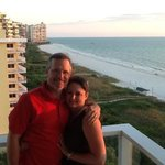 hubby and I on gorgeous balcony of our room.