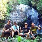 trekking to the waterfall