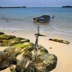 Boat on the beach near hotel