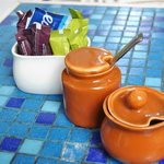 Colorful tiles - Table set up at German Bakery