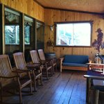 The porch with a view of the river right in front of you!