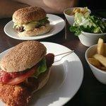 Beef & Chicken Burger, chips & salad,
